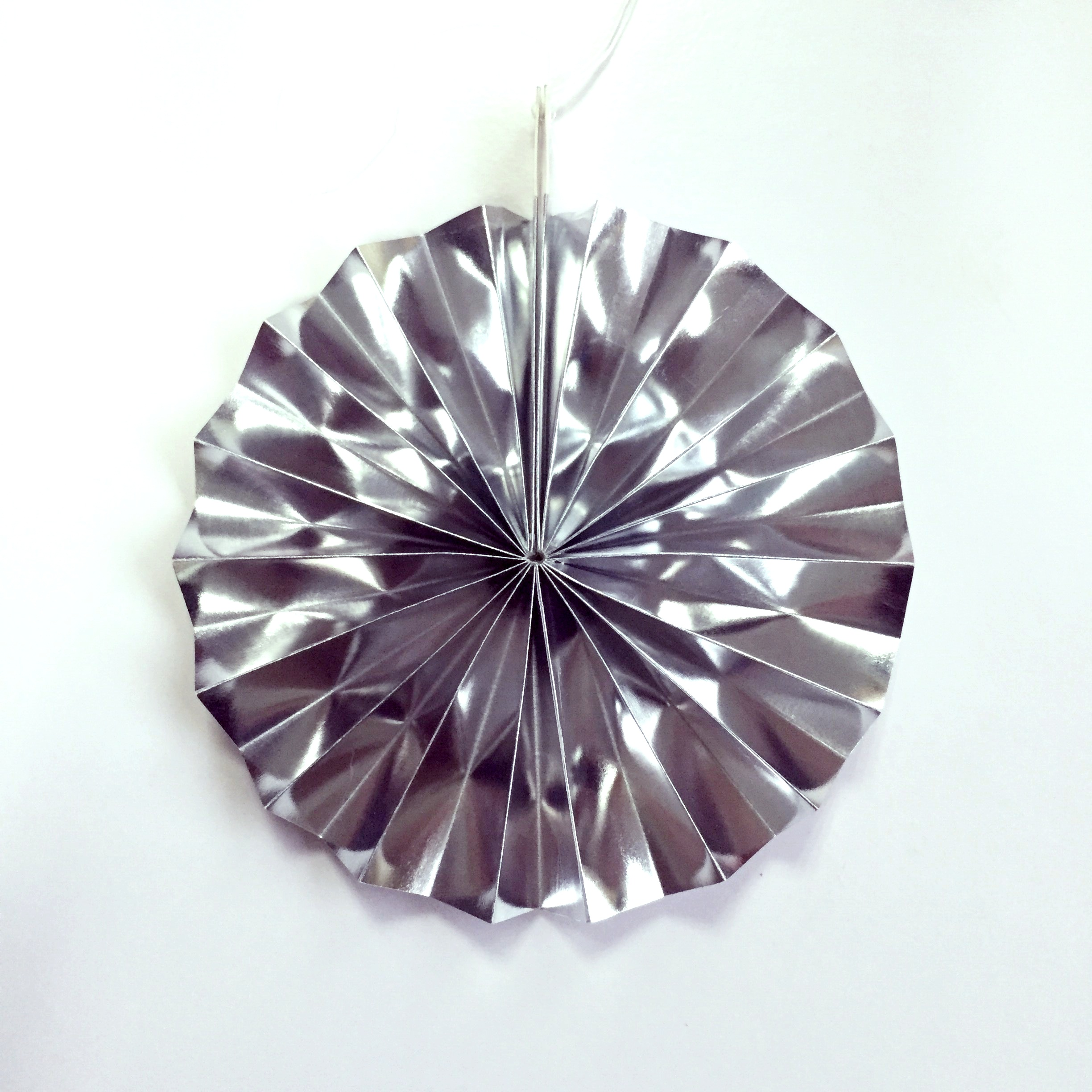 silver folding paper fan for party decoration