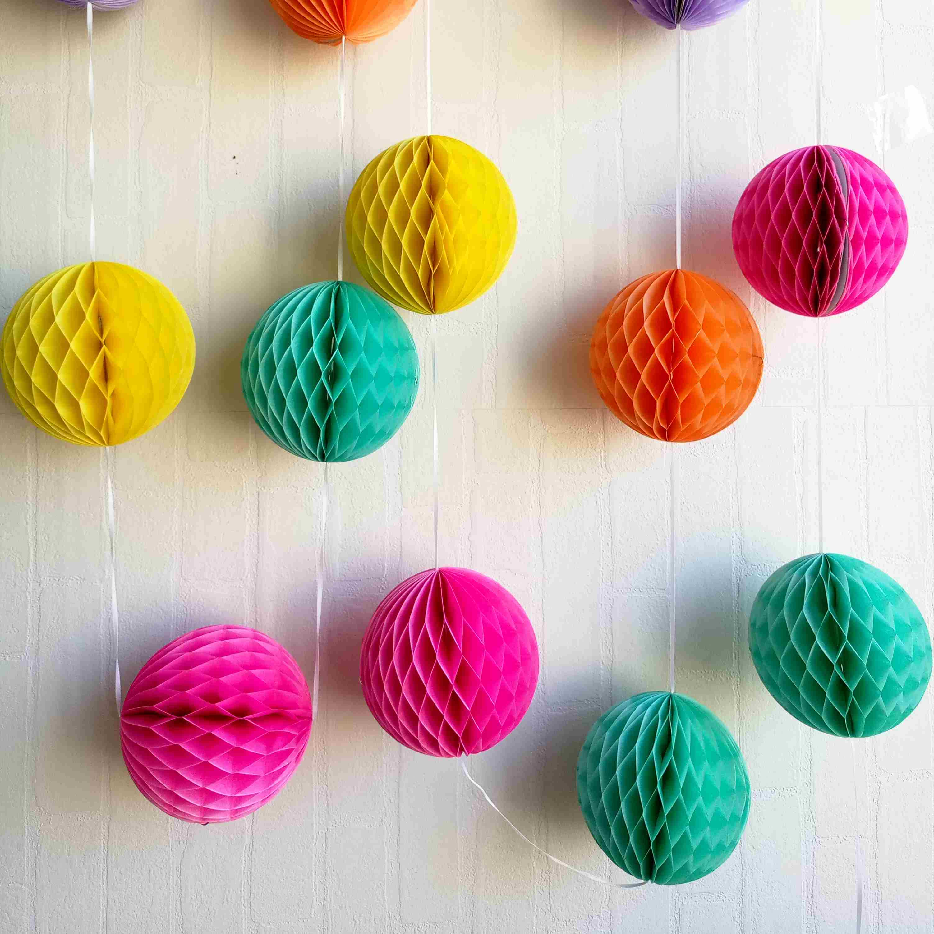 Colorful Paper Honeycomb Balls Garland