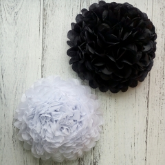 black and white tissue paper pom poms
