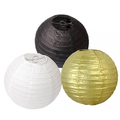 8inch Pack of 6 Black Gold White Mixed Colors Paper Lanterns