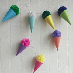 Paper Honeycomb Ice Cream Garland