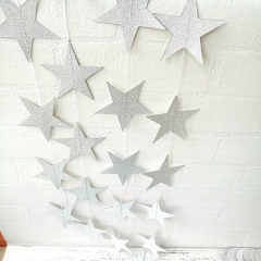 Glittering Silver Shiny Decorative Eva Star Garlands