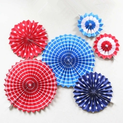 Stars & Stripes Hanging Fans for Baby Shower