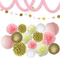 Birthday Party Decorations pink blue set