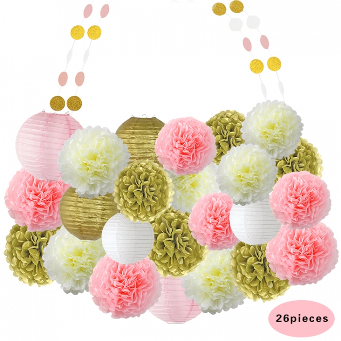 Birthday Party Decorations gold pink ivory white set